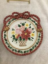 "Fitz and Floyd Father Christmas Poinsettia Plate 9 1/4"" Vgc Serving or Display"