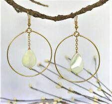 Natural Shell Tear Drop Charm Gold Hoop Earrings