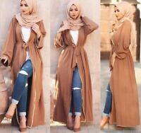 Dubai Women Open Cardigan Jilbab Kaftan Abaya Muslim Islam Robe Maxi Dress Gown
