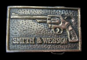 VINTAGE 1970'S SMITH AND WESSON BELT BUCKLE SOLID BRASS