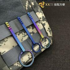 Outdoor Camp Titanium Alloy Keychain Key Ring Pocket Belt Clip Hook & Split Ring