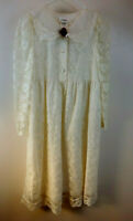 Vintage 1980s Bonnie Jean Girls 14 Ivory Lace Ruffles Holiday Dress