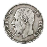 Pièce Argent Belgique 5 Francs Léopold II 1873