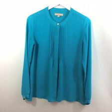 BANANA REPUBLIC Button Down Turquoise Ruffled Blouse Size SMALL
