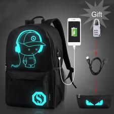 Men Women Schoolbag Bookbag Satchel Shoulder Backpack Night Luminous Bags Music Boy Pencil Bag Lock L With USB