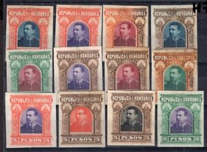HONDURAS TWELVE IMPERFORATED STAMPS COLOR PROOF MNG NOT ISSUED