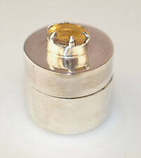 NEW STERLING SILVER SMALL ROUND PILL BOX WITH PRONG-SET OVAL FACETED CITRINE TOP