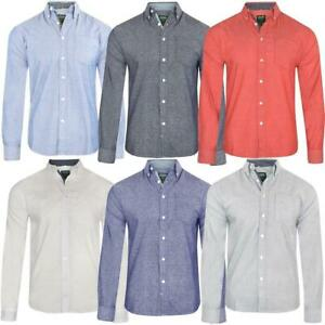 Mens Oxford Shirt Long Sleeved Button Down Collar 100% Cotton