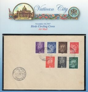 VATICAN CITY 1947 C9-14 FIRST DAY COVER Dove Bird Cross Unaddressed -FreeShipUSA