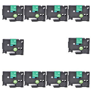"""10PK Compatible Brother TZ-735 TZe-735 White on Green Label Tape Cassette 0.47"""""""