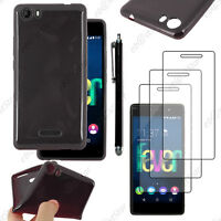Housse Etui Coque Souple Silicone Gel Noir Wiko FEVER 4G +Stylet 3 Film