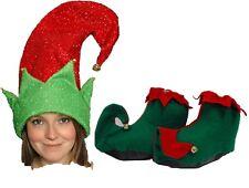 Elfo Adulto Bufón Gnomo Pixie Zapatos Y Sombrero conjunto Santas Ayudante Navidad Traje