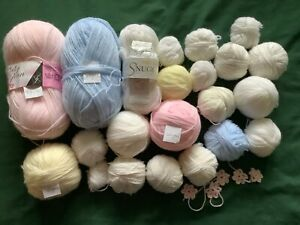 JOB LOT ODDMENTS 550+ gms 3 PLY KNITTING WOOLS YARN BABY COLOURS ALL NEW UNUSED