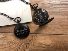 Personalised LASER Engraved Black Pocket Watch PPWA-103