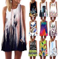 Women Summer Vintage Boho Loose Sleeveless 3D Floral Print Bohe Tank Mini Dress