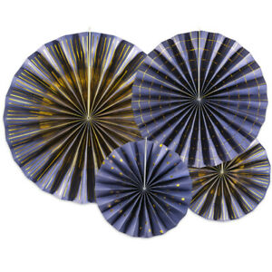 4  Navy & Gold Rosette or Fan Paper Decorations