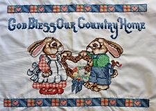 Vintage Sampler Bunnies Rabbits Hand Embroidery Needlepoint Completed Finished