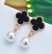 Elegant Fashion Pearl Gold Plated Four Leaf Clover Ear Stud Earrings Women Gift