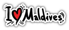 I Love Maldives Slogan Car Bumper Sticker Decal 6'' x 2''