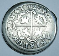1726 Spanish Silver 1 Reales Antique Colonial 1700's Pirate Treasure Cross Coin