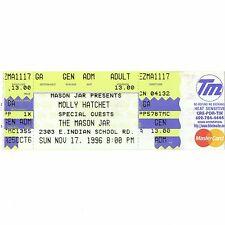 Molly Hatchet Full Concert Ticket Stub Phoenix Arizona 11/17/96 Mason Jar Rare