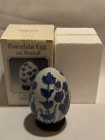 Vintage Porcelain Egg With Stand And Original Box