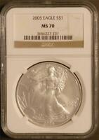 2005 $1 1 oz. Mint State American Silver Eagle NGC MS 70 Gold Label 3656227-237