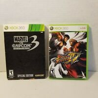 Xbox 360 Game LOT Marvel vs Capcom 3 Special Edition, Street Fighter IV Complete