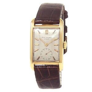 Patek Philippe Vintage Rectangle 18k Yellow Gold Leather Silver Men's Watch 2434