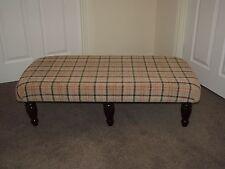 Beige Tartan xl upholstered coffee table footstool dark turned leg foot stool