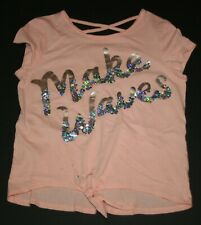 USED Justice 14 16 year Girls Make Waves Flip Sequin Top Tie Front Paint Marks