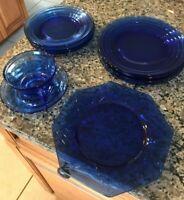 Depression Glass Lot COBALT BLUE GLASS PLATES & CUP & SAUCER SET-SMALL & LARGER