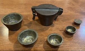 Antique 6 pc Set Of Brass Nesting Apothecary Weights - Mining, Pharmaceuticals
