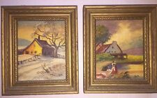Pair (2) of Vintage Carl Roth Miniature Oil Paintings - Country Cottages