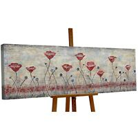 100% Handgemalt Acryl Gemälde handgemaltes Wand Bild Kunst Leinwand Mohn Blumen
