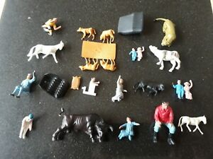 Corgi, Britains Vintage Plastic Toy spare Figures, longleat, farm, Chitty Bang