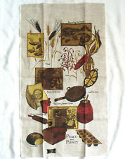 Kay Dee Handprints Linen Fabric Wall Hanging / Dish towel 1970'S Peace & Plenty