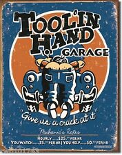 Tool in Hand Garage FUNNY TIN SIGN mechanic bar auto repair shop wall decor 1319