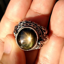 Black Star Sapphire 12 Rays Sterling silver 925