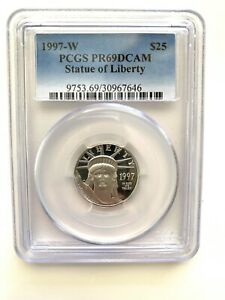 1997-W $25 STATUE OF LIBERTY AMERICAN EAGLE PROOF 1/4 OZ PLATINUM PCGS PR69DCAM