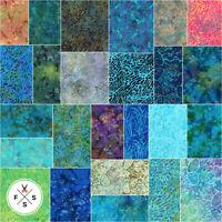 "Lunn Studios Coral Reef Batiks 5"" Charm Pack Fabric Squares Kaufman CHS-833-42"