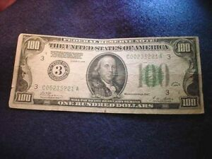 "1928 $100 FEDERAL RESERVE NOTE ""REDEEMABLE IN GOLD"" 1928!!   #2000"