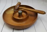 "3536 Vtg Myrtle Wood Novelty Wooden Nut Bowl 13"" Hummer Mid-Century Collectible"