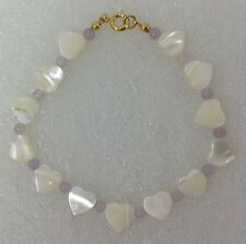 """Mother of Pearl Heart Bracelet 7 ¼"""" with colored beads- Vintage ~NEW~"""