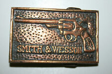 Vintage 1970s Smith & Wesson Revolver Guns Solid Brass Belt Buckle Rare