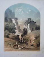 Die Kartause Alps Waterfall Tyrol Old Coloured Steel Engraving 1850