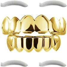 24K Plated Gold Grillz For Men And Women | Mouth Top Bottom Hip Hop Teeth Grills