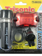Bicycle Safety Light Set Front Back with Mounts Bright 5 LED Trisonic TS-BK559