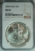 1994 Silver American Eagle Dollar / One Troy Ounce / NGC MS69