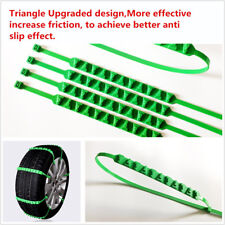 10 Pcs Upgraded Car Truck Green Triangle Snow Anti-Skid Tire Chain Emergency Kit